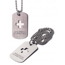 Signature Dog Tag Designer Necklace Silver