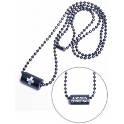 Black Cross Barrel Necklace